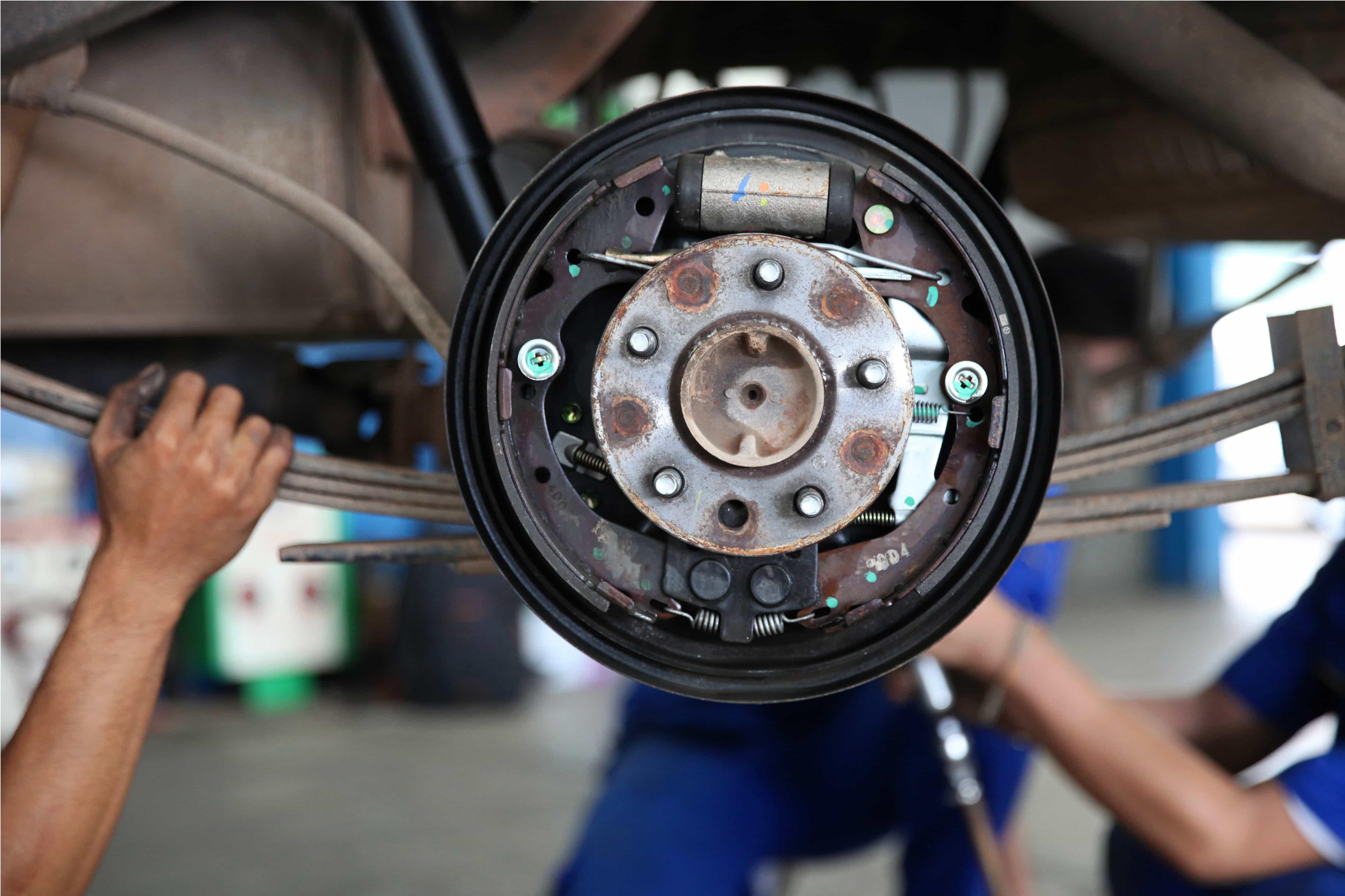 drum brake mechanism of a car wheel displaying cylinder