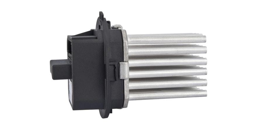 car blower motor resistor in white background